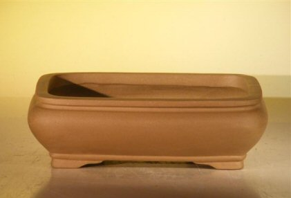 Image: Ceramic Bonsai Pot - Rectangle Unglazed  6.5x4.5x2.125