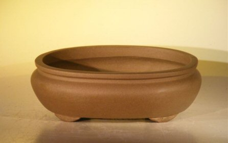Image: Ceramic Bonsai Pot - Oval Unglazed