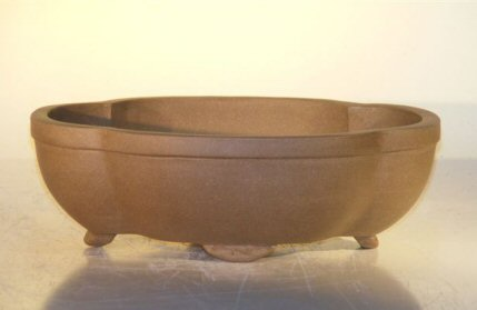 Ceramic Bonsai Pot - Oval Unglazed