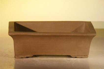 Image: Ceramic Bonsai Pot - Rectangle Unglazed
