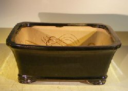 Black Ceramic Bonsai Pot- Rectangle Professional Series 10 x 8 x 4