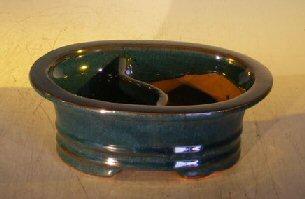 Dark Blue Ceramic Bonsai Pot - OvalLand/Water Divider 8.0 x 6.0 x 3.0 OD6.5 x 5.0 x 2.5 ID Image