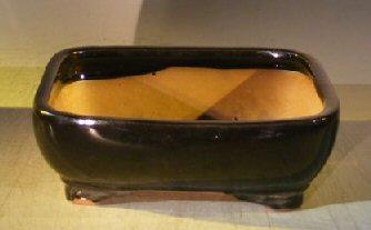 Black Ceramic Bonsai Pot – Rectangle 10.0 x 8.0 x 3.125