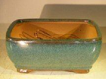 Green Ceramic Bonsai Pot – Rectangle Professional Series 8.25 x 6.25 x 4.0