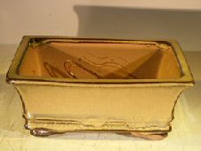 Mustard Ceramic Bonsai Pot – Rectangle Professional Series 8 x 6 x 3