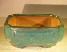 Green Ceramic Bonsai Pot - Rectangle <br>Professional Series <br>8.25 x 6.5 x 4.0