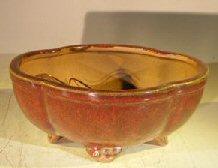 Parisian Red Ceramic Bonsai Pot – Oval Lotus Shaped Professional Series 8.25 x 7.0 x 4.0