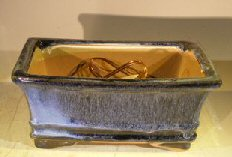 Marble Blue Ceramic Bonsai Pot – Rectangle Professional Series 8.25 x 6.25 x 4.0