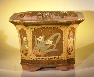 "Ceramic Bonsai Pot 12.0""x12.0""x9.0"" Tall Floral Design - Brown/Yellow Color Square"