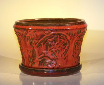 Image: Ceramic Bonsai Pot  With Matching Tray 11.25x7.50 Tall Parisian Red Color Round