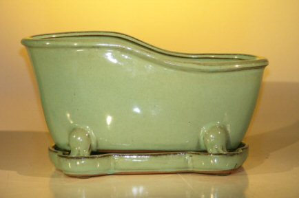"Ceramic Bonsai Pot With Matching Tray 10.875""x4.875""x5.25"" Tall Blue/Green Color Bathtub Shape"