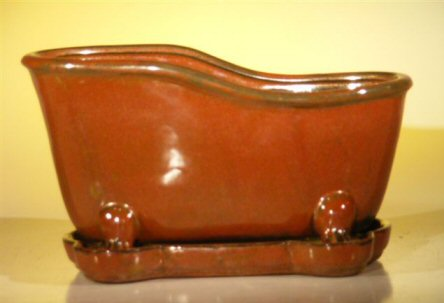 "Ceramic Bonsai Pot With Matching Tray 10.875""x4.875""x5.25"" Tall Aztec Orange Color Bathtub Shape"