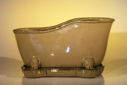 "Ceramic Bonsai Pot With Matching Tray 10.875""x4.875""x5.25"" Tall Mustard Color Bathtub Shape"