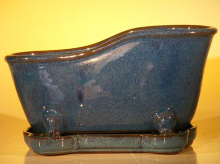 Image: Ceramic Bonsai Pot With Matching Tray 10.875x4.875x5.25 Tall Blue Color Bathtub Shape
