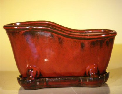"Ceramic Bonsai Pot With Matching Tray 10.875""x4.875""x5.25"" Tall Parisian Red Color Bathtub Shape"