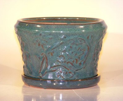 "Ceramic Bonsai Pot With Matching Tray 11.25""x7.5"" Tall Blue/Green Color Round"
