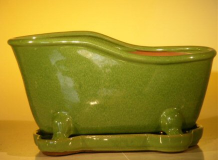 "Ceramic Bonsai Pot With Matching Tray 10.875""x4.875""x5.25"" Tall Lime Green Color Bathtub Shape"