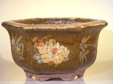 "Ceramic Bonsai Pot 8.0""x5.5"" Tall Floral Design - Brown/Yellow Color Hexagon Shape"