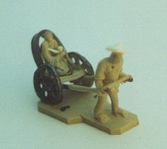 Mud Man Ceramic Figurine-Man Pulling Rickshaw