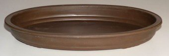 "Humidity/Drip Bonsai Tray/Bonsai Pot - Oval Brown 17.0""x12.0""x2.0"""