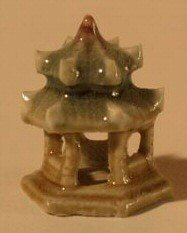 Glazed Six Sided Pavillion Ceramic Figurine (Green) - 1