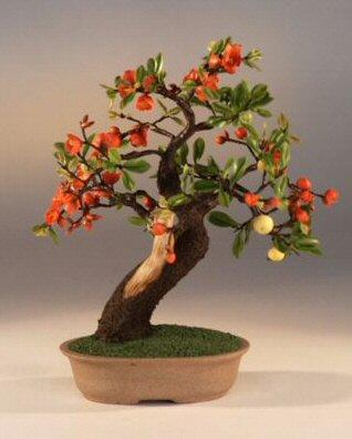 Artificial Flowering Quince Bonsai Tree