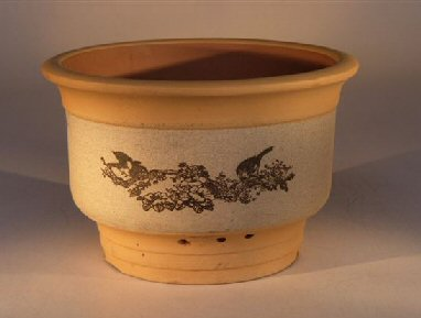 Ceramic Bonsai Pot - Unglazed Round