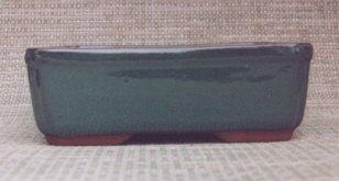 Imported Glazed Ceramic Bonsai Pots - Green Rectangle - 7 x 5 x 2