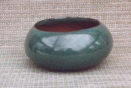 "Green Round Ceramic Bonsai Pot 4.75"" x 2.25"""