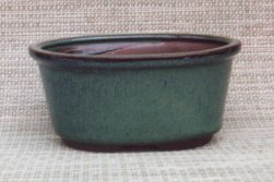 Image: Green Oval Ceramic Bonsai Pot 6.25 x 4.75 x 3