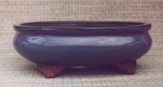 "Blue Oval Ceramic Bonsai Pot 6.5"" x 4.5"" x 2.5"""
