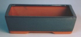 "Imported Glazed Ceramic Bonsai Pot - Green Rectangular XL - 9"" x 6 1/2"" x 2 1/2"""