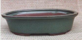 """Green Oval Ceramic Bonsai Pot 9"""" x 6.75"""" x 2 3/8"""""""