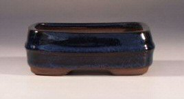 "Imported Glazed Ceramic Bonsai Pot -Blue 4.5""x3""x2"""