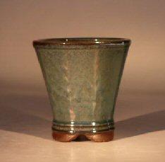 "Ceramic Bonsai Pot - Green Round Cascade 4.25""x4.5"" Tall"