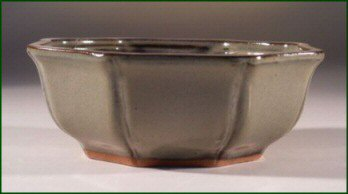 "Green Octagon Ceramic Bonsai Pot 5.5"" x 2.5"""