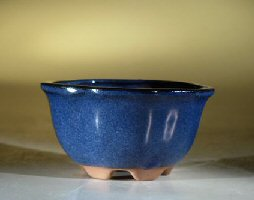 Ceramic Bonsai Pot Glazed Round - Blue