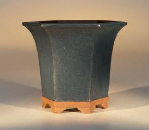 "Ceramic Bonsai Pot - Hexagon Blue 5.5""x4.75"""