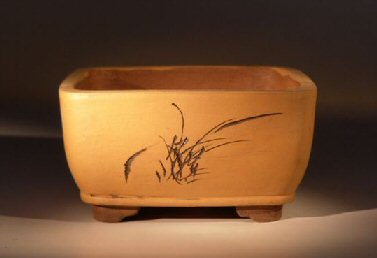 Ceramic Bonsai Pot Square Unglazed with Etching
