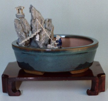 "Water/Stone Landscape Scene Ceramic Bonsai Pot - 8"" x 6"""