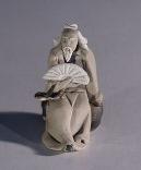 Image: Ceramic Figurine  - Man Holding Fan 1.5x1.5x2.0