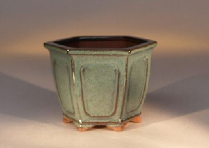 "Ceramic Bonsai Pot Hexagon - Green 6""x4.75"""