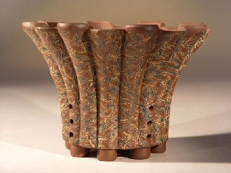 "Ceramic Bonsai Pot - Round Unglazed with Pained Floral Design 8.75""x4.0"""