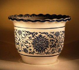 Ceramic Bonsai Pot - Blue and White Round