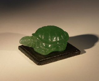 Image: Glass Turtle Figurine With Wooden Stand