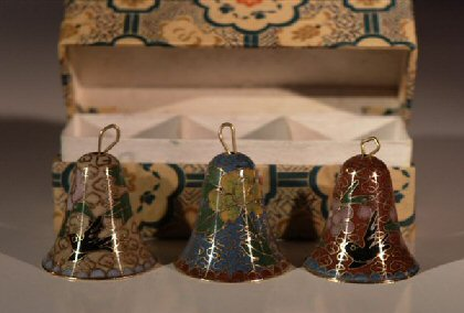 Image: Hand Painted Cloisonne Bells  -  Set of 3