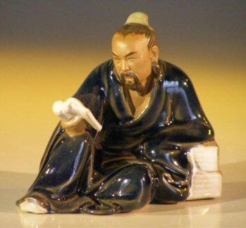 Image: Miniature Ceramic Figurine Man Reading Book  - Blue Robe (Small)