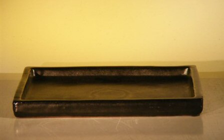 "Ceramic Humidity/Drip Bonsai Tray - Black  Rectangle 8.25""x5.75"" x1.0"""