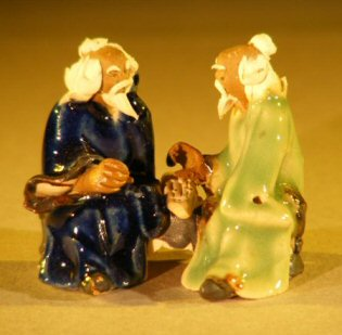 Image: Miniature Ceramic Figurine Two Men Sitting at a Table with Fine Detail Color:Blue & Green