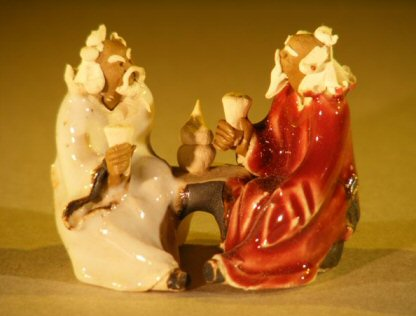 Image: Miniature Ceramic Figurine Two Men Sitting at a Table with Fine Detail Color:White & Red